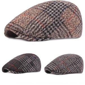 otoño de los hombres fXmPk Beret y subir subir boina de invierno en punta de algodón alcanzó su punto máximo de tapa engrosada juventud el sombrero delante de mediana edad y de edad avanzada sombrero alcanzó su punto máximo c