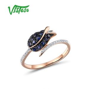 Vistoso rein 14K 585 Rose Gold Ring für Frauen Ring glänzenden Diamant-blauen Saphir Luxuxhochzeits-Verpflichtungs-elegante Fine Jewelry T200905
