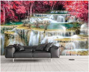 foto de encargo mural de papel pintado 3D paisaje río tv pared de fondo caseros de la decoración murales de pared 3d bosque de arce del papel pintado para paredes 3 d