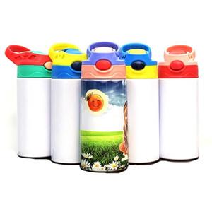 350 ml Sublimation Kids Blank Sippy Tazza con paglia in acciaio inox Bottiglia d'acqua Bambini Tazze da latte 6 colori Duckbill Thermos Cup New F92402