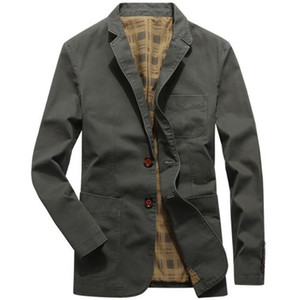 Men Casual Blazers Cotton Denim Parka Men's slim fit Jackets Army Green Khaki Black Plus Size M-XXXL 4XL outdoors outwear coat