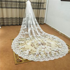 White Ivory 3M 5M Wedding Veils 2021 Lace Applique Edge Tulle Veil With Comb Cathedral Length Romatic Wedding Veil Real Image