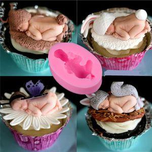 Forme bébé silicone patissier embosser Moule 3D Sommeil bébé fait main savon moule Fondant gâteau moule chocolat décoration de gâteau Moule à sucre