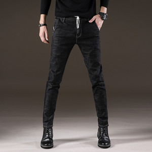 pantalones vaqueros y de invierno con cordones de los hombres jóvenes estiramiento delgado coreano, simple negro y jeans ajustados otoño tienda online boVVe
