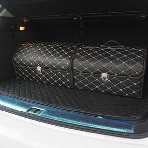 Auto Aufbewahrungsbox PU-Leder Trunk Organizer Aufbewahrungstasche Farbe schwarz-gold für Autozubehör Organizer für Smart 453