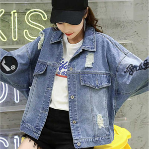 Loose BF batwing sleeve jean coat women letters epaulet Embroidery homme demin jackets Spring Autumn 2020 womens fashion clothes