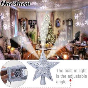 Árbol de Navidad Topper OurWarm estrella LED superior de la estrella del copo de nieve proyector de Navidad decoración de vacaciones de Navidad del partido fuera de la Florida