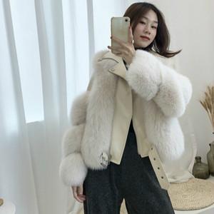 OFTBUY 2020 de alta qualidade Luxury Real Casaco de peles Casaco de Inverno Mulheres Natural Fox Fur Sheep couro genuíno da pele quente grossa Vest Nova
