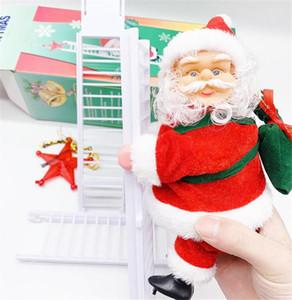 2020 Père Noël Escalade Échelle électrique Poupée d'arbre de Noël Ornement Hanging mur extérieur Porte d'intérieur Décoration