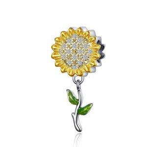 Pendentif de tournesol Charme pour filles DIY bijoux Fit Pandora Bracelet Or et rose plaqué or véritable 925 argent sterling