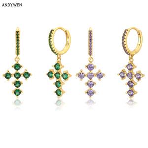 ANDYWEN 100% 925 Sterling Silver Rainbow Cross Dangle Charm Drop Earring Piercing Zircon Ohrringe Jewelry Rock Punk Pendiente 200923