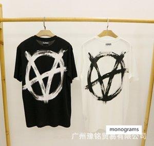 VTM anti-guerra em grande V impresso T-shirt dos homens e marca solta hip hop casuais algodão em torno do pescoço de manga curta de verão das mulheres