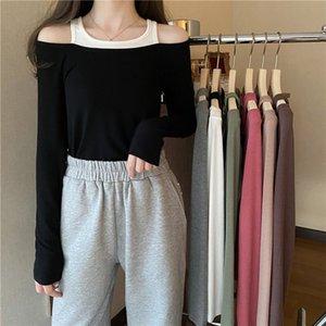 20200829 Falsificazione due al largo della Long Sleeve T-Shirt spalla per le donne
