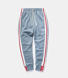 2018 Spring Autumn Fashion Side Stripe design Elastic Waist Track Long Pants Trousers Mens Womens Fashion Joggers Sweatpants