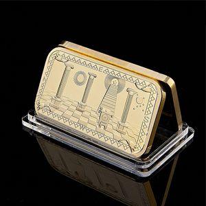Altın Kaplama Bar Masonlar mason Mücadelesi Coin Altın Bar 999 Altın 3D Tasarım Koleksiyon mason Külçe Bar