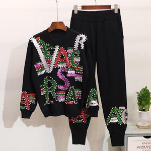 Set Feminino 2020 Outono Inverno Beading Sequins Carta de manga comprida camisola de malha calças compridas conjunto pedaço Treino Feminino solto Two