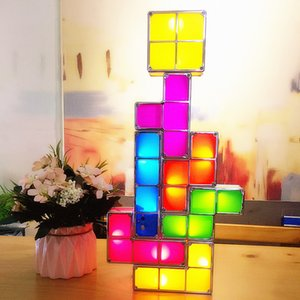 7Colors DIY تتريس لغز ضوء LED تكويم مكتب مصباح Constructible بلوك ليلة الخفيفة ريترو برج لعبة الطفل ملون لبنة لعبة الجدة
