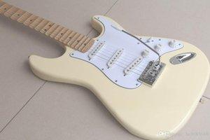 Pas cher guitare crème Yngwie Malmsteen pétoncle en forme d'érable Touche Big Head ST 6 String Electric Guitarra Inventaire Livraison gratuite