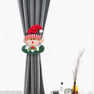 15 Estilo de Navidad de la hebilla de Tieback de Santa muñeco de nieve cortina Tiebacks Holdback de sujetador hebilla de abrazadera decoraciones de Navidad Adornos KKF2132