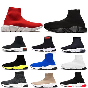 2020 Sock Chaussures Speed Runner Triple Noir maillé extensible Glitter Paris Fashion Sole Femmes Hommes Effacer Casual Chaussures de sport Formateurs Plate-forme
