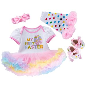 DHgate Fashion 4PCS Newborn Baby Girls Princess Easter Eggs Letter Print Tutu Dress Outfits Set Clearance newst baby dress Z0208