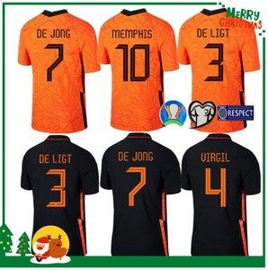 2020 هولندا لكرة القدم قميص DE JONG هولندا DE تجلى جانب STROOTMAN VAN DIJK فيرجيل 2021 الرجال الكبار + طقم الاطفال جيرسي لكرة القدم