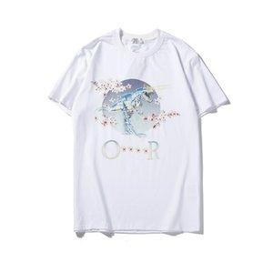 Hombre de las camisetas manga corta cuello redondo Imagen impresa de verano camisas flores de cerezo de manera ocasional de las mujeres unisex camiseta tamaño M-2XL