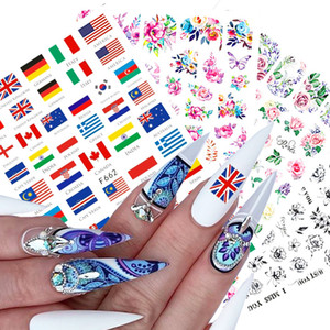 1pcs 3D Nail Decal Stickers Charms Butterfly National Flag Flowers Slider for Manicure Summer DIY Nail Art Decor Tips