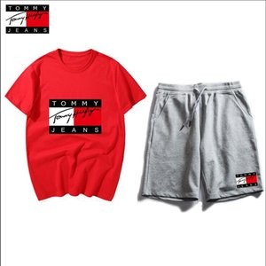 TOMMY HILFIGER Hommes Sets Mode Sporting Summer Costume + T-shirt de vêtements amples Sweatpants Hommes Costume Sweat style chinois