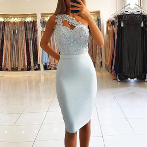 Light Blue Short Cocktail Party Dress 2020 One Shoulder Lace Knee Length Homecoming Dresses Custom Made Club Wear