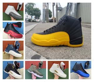 2020 nouvelle grippe Royal Game de basket-ball des hommes de 12 ans Université Gold Stone Blue 12 Le Maître gris foncé hommes baskets de sport Athletic