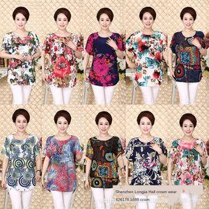 одежду летней женщины среднего возраста и пожилых одежды t- среднего и пожилого возраста одежда футболки база рубашка Ice Silk Cotton 1688 свободный ш