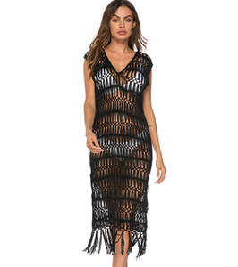 ropa de mujer stokta bluz ile 2020 plaj elbise yeni siyah içi boş saçaklı plaj etek V yaka mayo saida de praia ucuz plaj örtbas