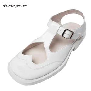 Мэри Джейнс 2020 Летний Новый британский стиль ретро Hollow Love Doll Zapatos De Mujer Толстый каблук низкий Пряжка насосы вскользь Женская обувь