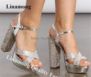 Linamong Rhinestone de Bling Bling Chunky de tacón alto Plataforma Sandalias Negro plata del cristal grueso sandalias del alto talón Talones de boda