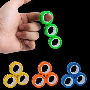 Novedad EDC Finger Fidget Spinner Anillo de Spinner Pulsera Pulsera Finger Pinner Girlating Spinner Gyro Estrés Spinner Spinner Discomresión magnética Juguete