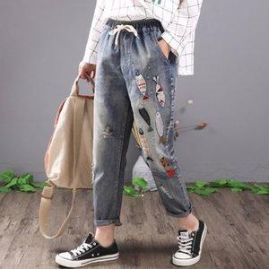 QPFJQD dell'annata delle donne di pesce ricamati jeans strappati cotone denim Harem casuale delle signore del merletto elastico in vita Pantaloni risvoltati Blu T200813