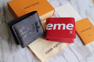 2020 new famous fashion designer leather credit card holder high quality classic folded notes and receipts bag wallet purs