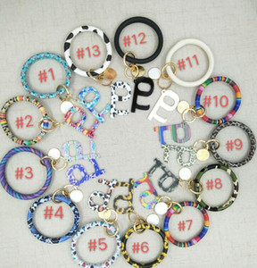 13styles PU Touchless Bracelet Key Chain No Touch Elevator Door Hook Opener Contactless Bracelet Acrylic Key Ring Party Favor GGA3633