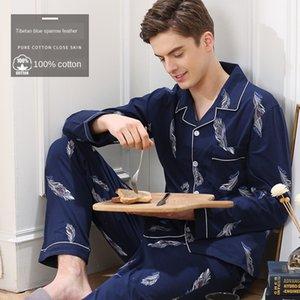 3wv8A 7W6MU Pyjamas Frühling und Herbst reine Baumwolle Hülse lange Kleidung Männerkleidung Herbst und Winter 2020 Herren-home home Tuch Einrichtung c