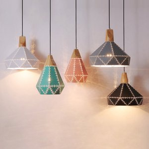 Creative Nordic post-modern minimalist chandelier cafe light restaurant bar dining room pendant lamp iron hollow wood headlight