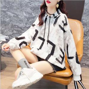 Женские толстовки толстовки женские толще плюс бархатные теплые мягкие буквы напечатаны простые все матча карманы досуг пуловеры женские модные