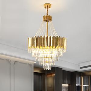 Luxury loft chandelier lighting modern gold crystal lighting fixtures large staircase led cristal lamp lustre AC 90-260V