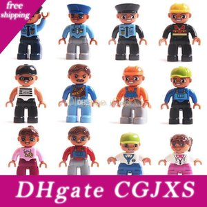 11 Styles Large Particles Building Blocks Dolls Character Role Playing Series Police Thief Engineer Blocks Minifig Kids Toys