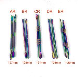 5 стиля инструмент Радуги цвета Dabber инструменты 106mm-127mm металла мазок баночка курения для воска сухой травы испаритель пера титан ногтей вода бом