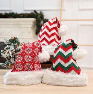En ucuz Noel Peluş Şapka Örme Uzun Zımba Çizgili Yetişkin Kırmızı Noel Baba Noel Yün Parti Şapkası Noel Süsleri Hediyeleri LJJP388