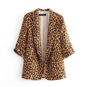 Giacchette Moda Skinny Leopard Abiti di stampa per le donne 2020 Autunno Inverno Streetwear Raffreddare Blazers Taglia S M L