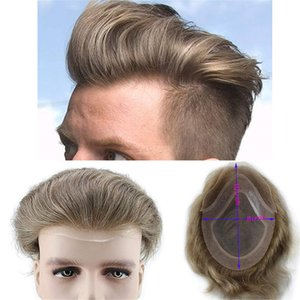 7 # Color Color Pelo humano Toupee Para Hombres Natural Straight Light Brown Reemplazo Pelo Europeo Remy Hair Peluca Masculina 10x8