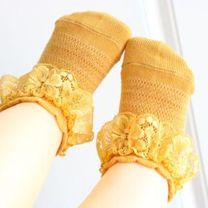 Kız Bebek Çorap Nefes Pamuk Dantel fırfır Çorap Çocuk Ayak bileği Kısa Çorap Beyaz Pembe Sarı Kız Çocuk Bebek