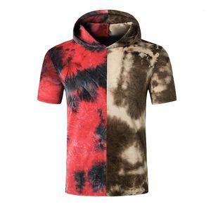 Kısa Kollu Gradyan Kapşonlu Erkek Casual Erkek Giyim Yaz Erkek Tasarımcı T Shirts Kontrast